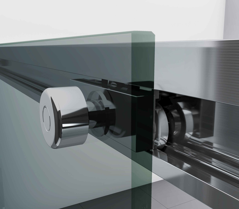 Eckdusche mit Schiebetür Soft-Close DX906 FLEX Chrom - 8 mm Nano Echtglas - Breite wählbar zoom thumbnail 5