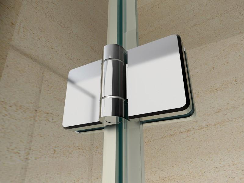 Duschkabine Eckeinstieg Falttür Nano Echtglas 8 mm EX213 - 80 x 80 x 195 cm zoom thumbnail 4