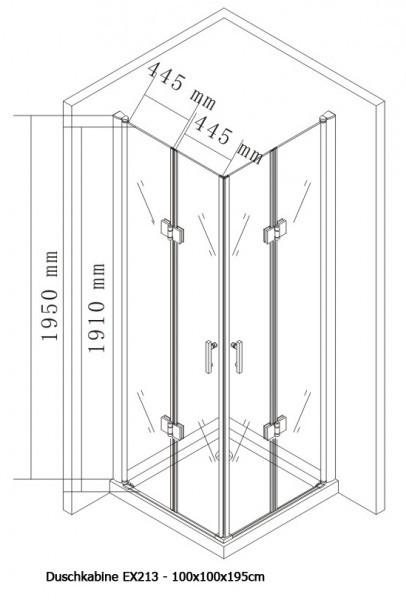 Duschkabine Eckeinstieg Falttür Nano EX213 - 100 x 100 x 195 cm inkl. Duschtasse zoom thumbnail 5