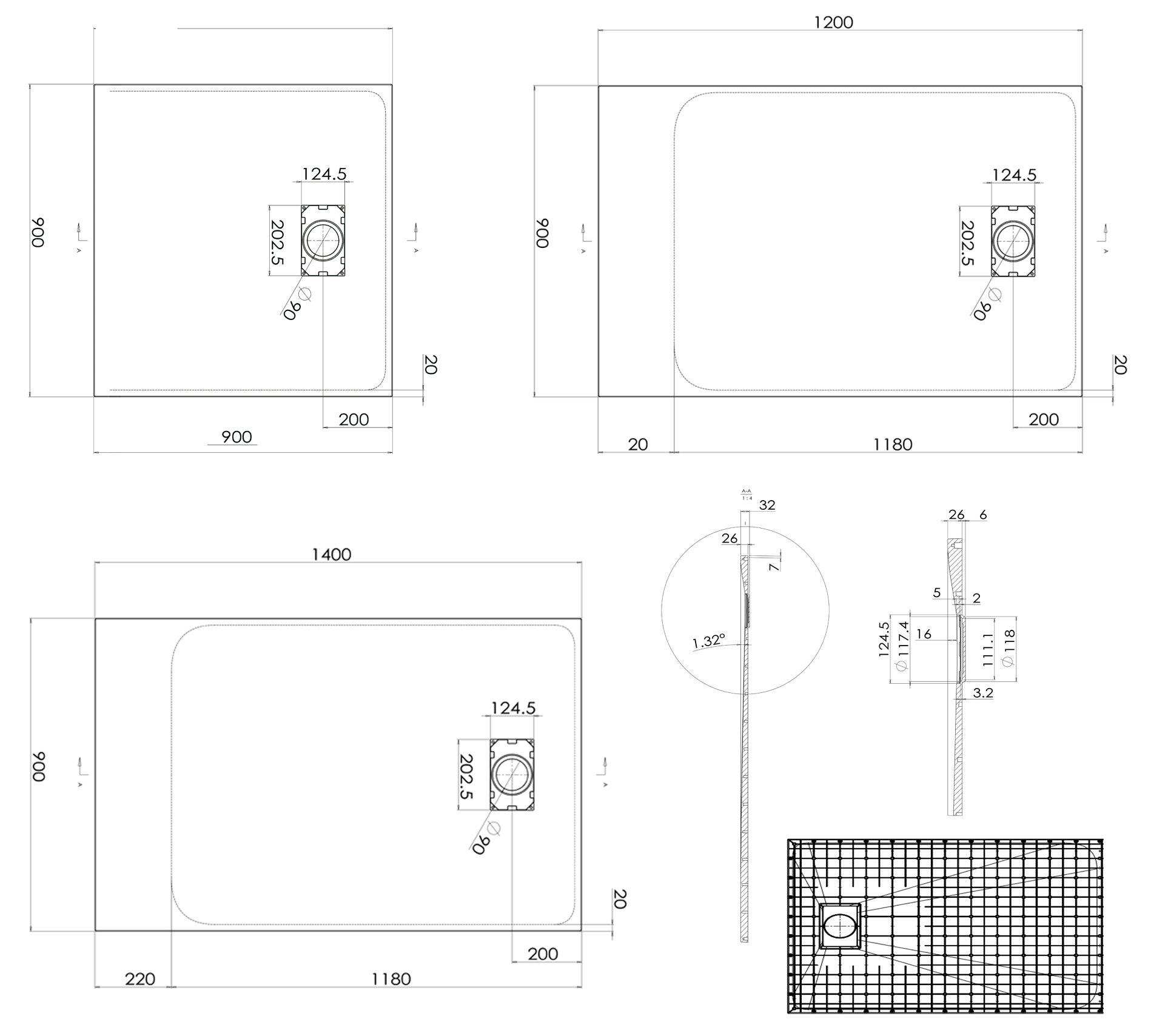 Duschtasse Duschwanne rechteckig GT-Serie aus SMC - Breite 90 cm - Länge und Zubehör wählbar zoom thumbnail 5
