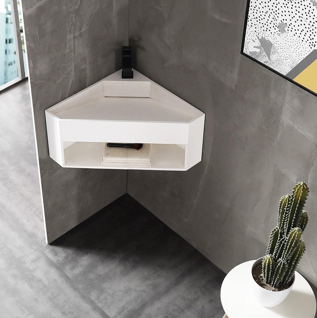 Wandwaschbecken aus Mineralguss TWG70 - Eckwaschbecken Weiß matt - 50 x 50 x 28 cm