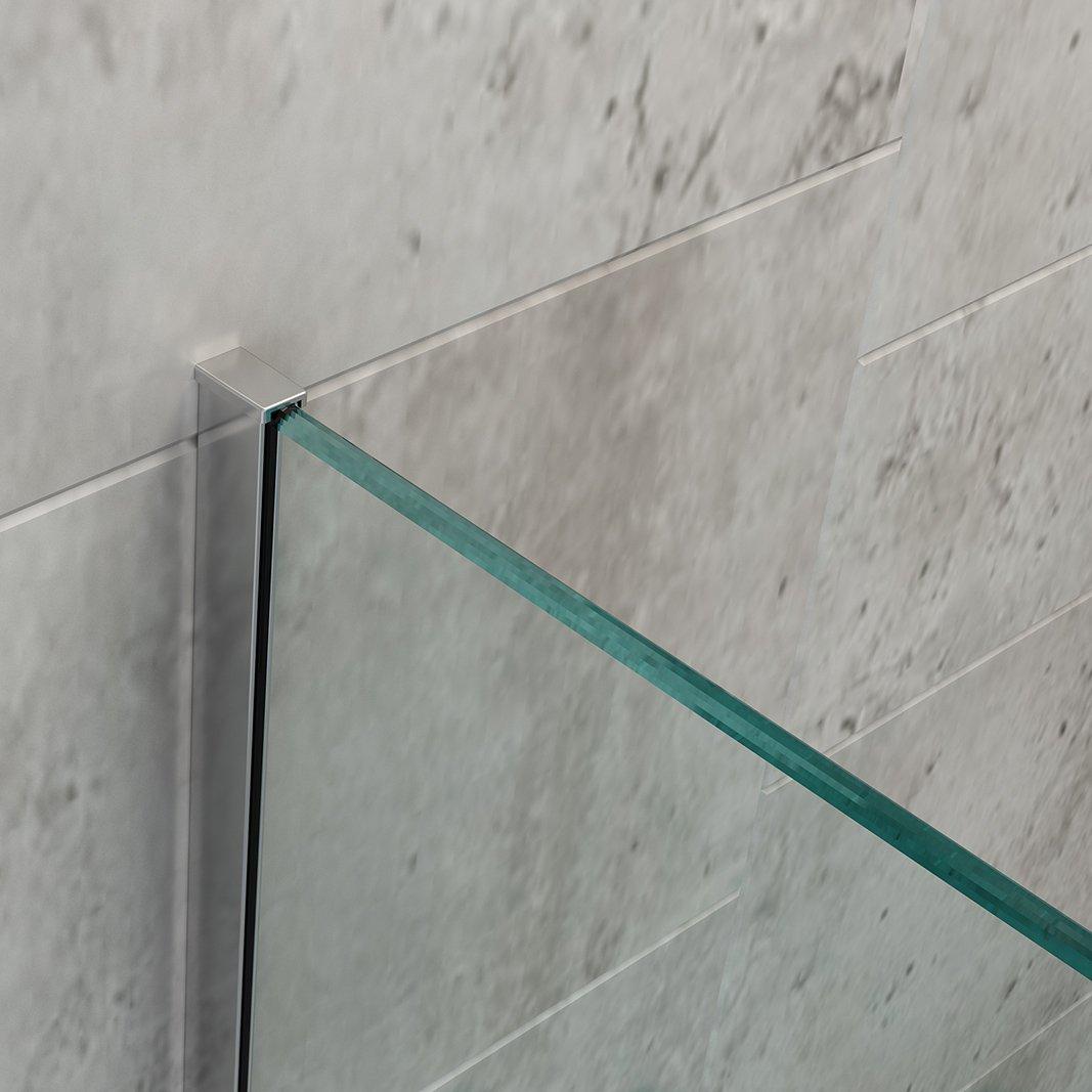 Duschabtrennung Walk-In Dusche EX101 8mm Nano Echtglas - Milchglas-Streifen - Breite wählbar zoom thumbnail 4