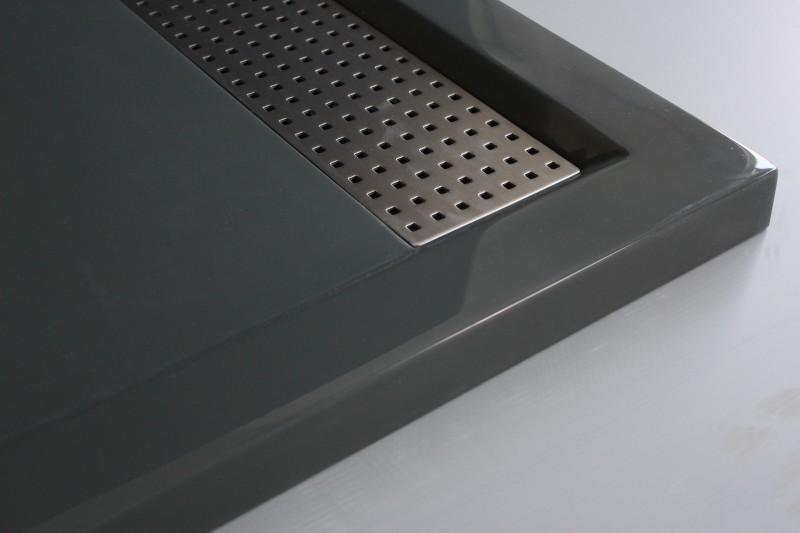 Mineralguss Duschtasse rechteckig 1480BG Edelstahl - Grau glänzend - 140x80x4,5cm zoom thumbnail 3