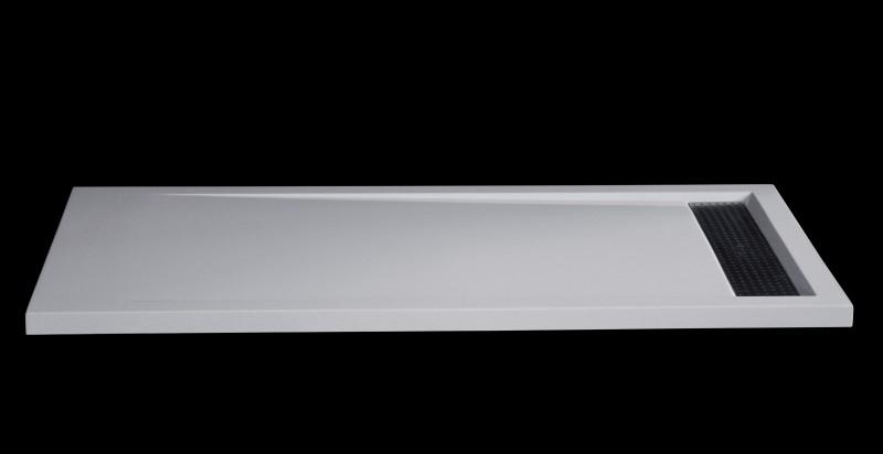 Mineralguss Duschtasse rechteckig 1680BW Edelstahl - Weiß glänzend - 160x80x4,5cm