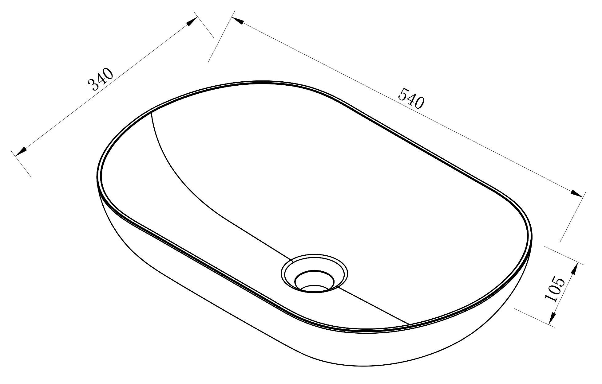Aufsatzwaschbecken O-540 aus Mineralguss - Weiß hochglanz - 54 x 34 x 10,5 cm zoom thumbnail 3