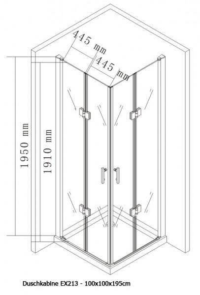 Duschkabine Eckeinstieg Falttür Nano Echtglas EX213 - 100 x 100 x 195 cm zoom thumbnail 5