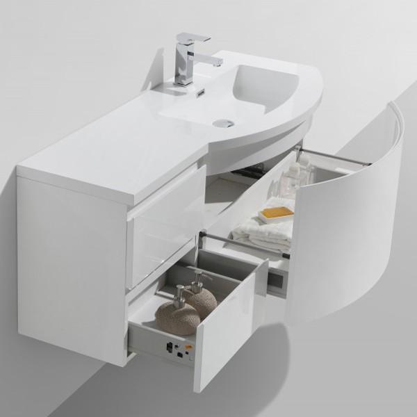 Badmöbel Set LAURANCE 1200 Weiß Hochglanz - geschwungene Form