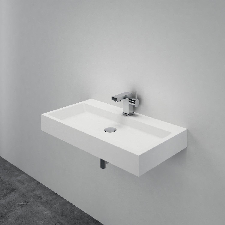 Waschbecken Aufsatzwaschbecken PB2143 aus Solid Stone Mineralguss – Weiß Matt – 80 x 42 x 10 cm zoom thumbnail 3