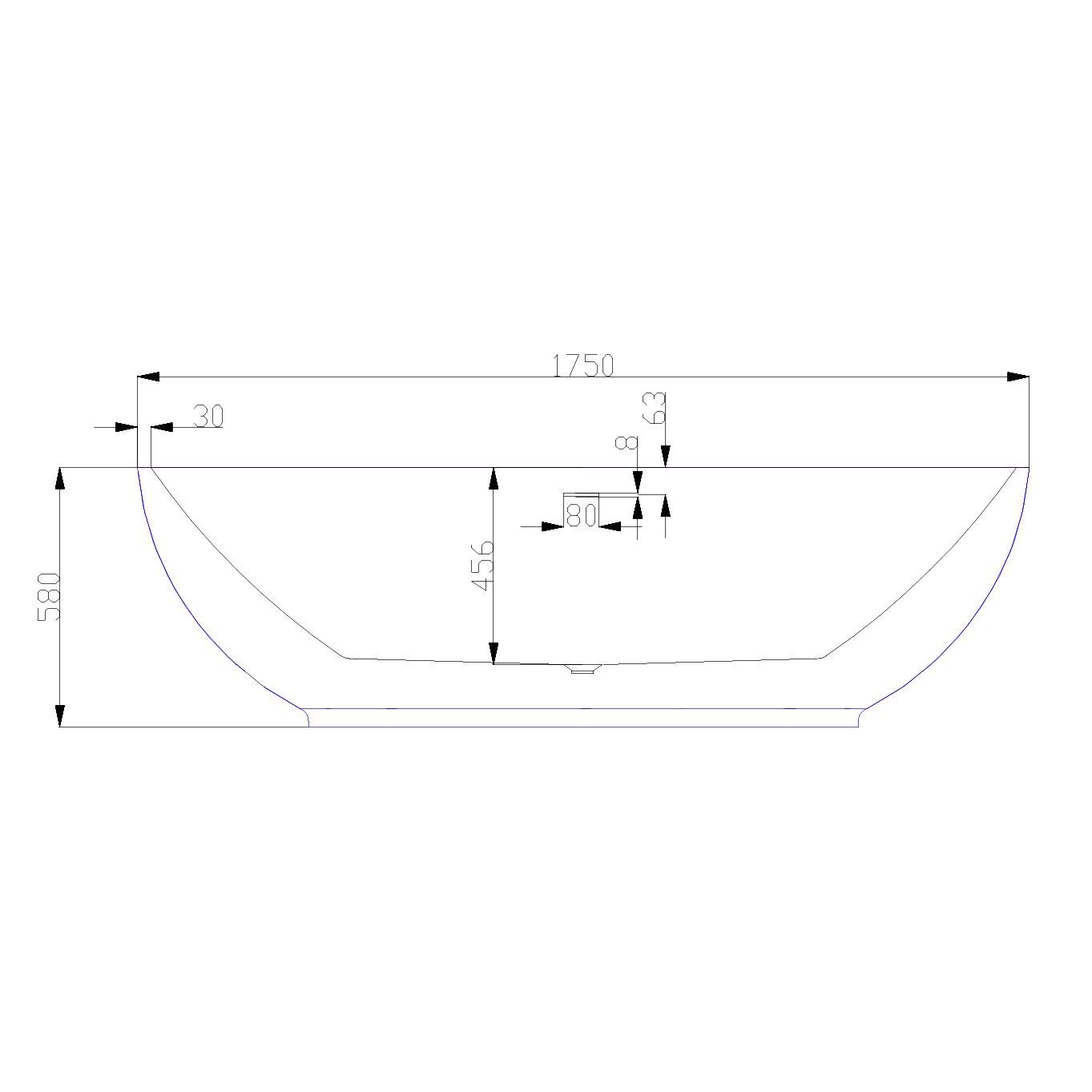 Freistehende Badewanne LEO Acryl Weiß glänzend - 175 x 100 x 58 cm - Standarmatur wählbar zoom thumbnail 4