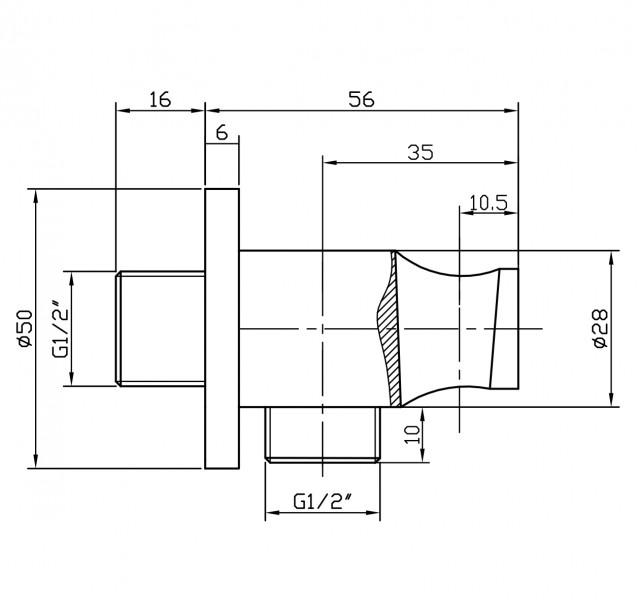 Wandanschlussbogen mit Brausehalter BA003 schwarz - rundes Design