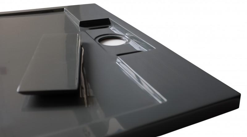 Mineralguss Duschtasse quadratisch M9090CG / PB3087GG - Grau glänzend - 90x90x3,5cm zoom thumbnail 5