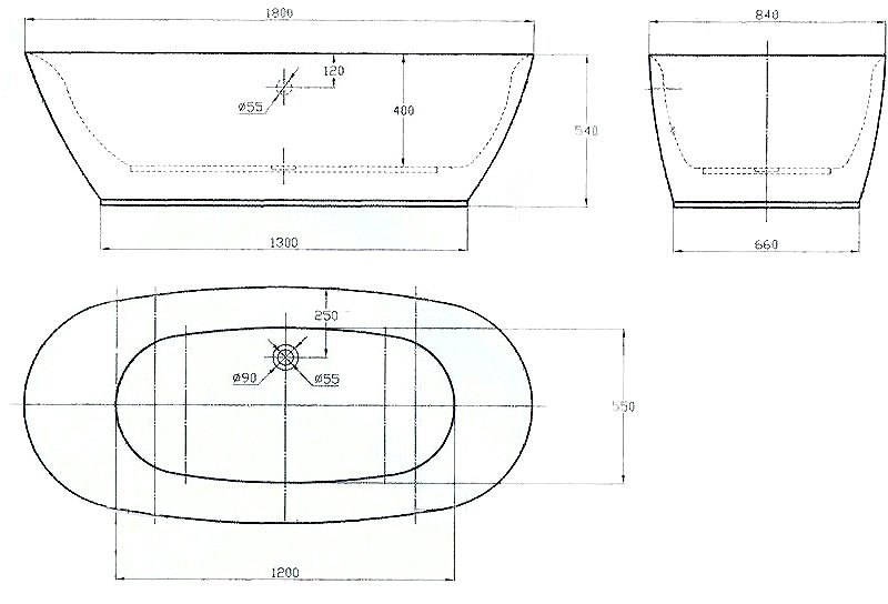 Freistehende Badewanne ROMA ACRYL weiß BS-916 180x84 inkl. Armatur 8028 zoom thumbnail 5