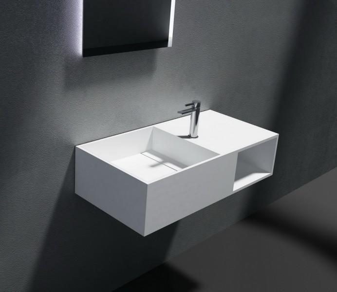 Wandwaschbecken aus Mineralguss PB2037 weiß - Solid Stone - 80 x 40 x 20 cm