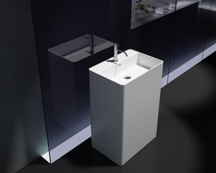 Freistehendes Waschbecken aus Mineralguss PB2022 weiß - 60 x 42 x 90 cm - Solid Stone