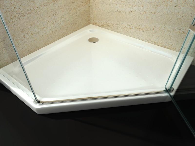 Duschtasse Duschwanne Fünfeck Acryl - 90 x 90 cm inkl. Ablaufgarnitur