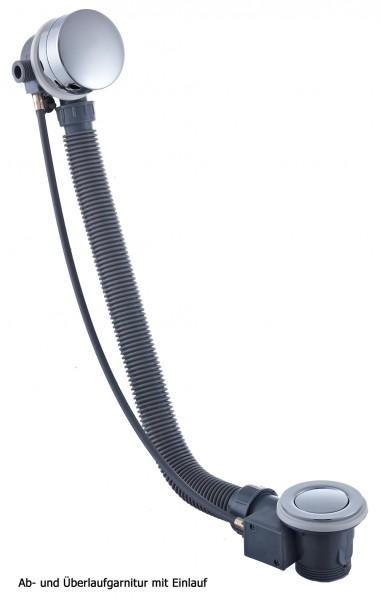 Ab-/Überlaufgarnitur mit Einlauf für Einbaubadewannen - Siphon optional