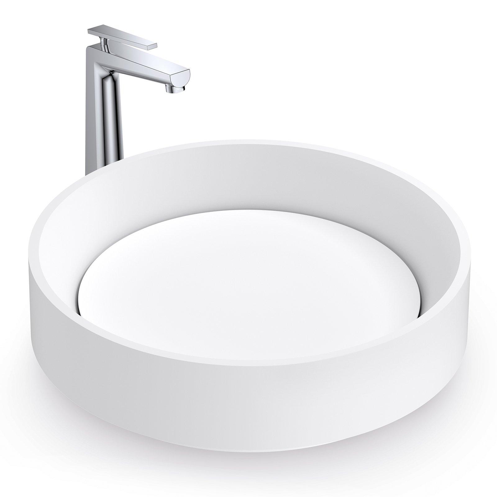 Aufsatzwaschbecken NT2430 aus Mineralguss - 42 x 42 x 11 cm - Weiß matt zoom thumbnail 4