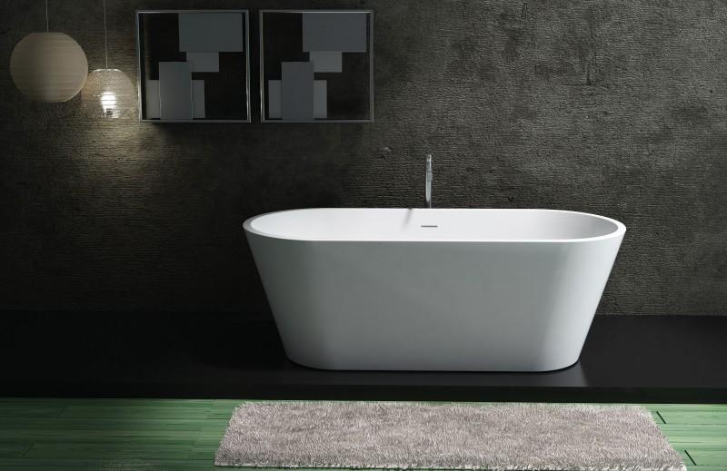 Freistehende Badewanne aus Mineralguss ALMERIA STONE weiß - 170 x 80 cm - Solid Stone - Zubehör optional