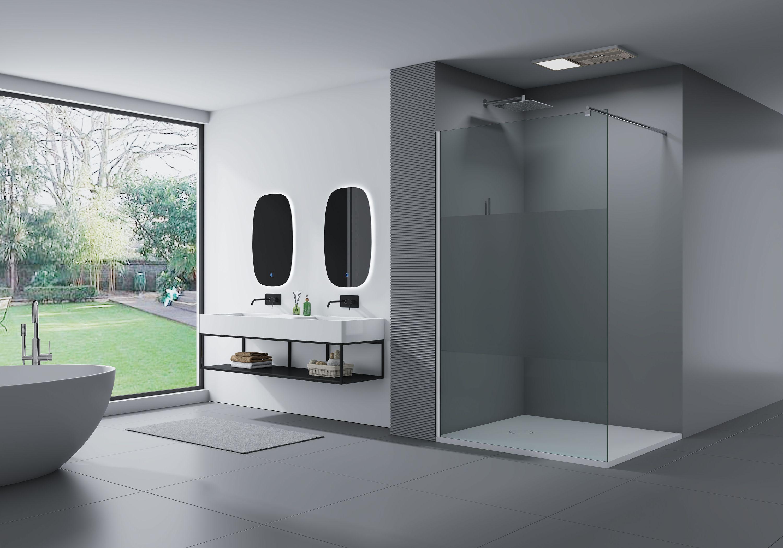 Duschabtrennung Walk In Dusche EX20 20mm Nano Echtglas   Milchglas Streifen    Breite wählbar