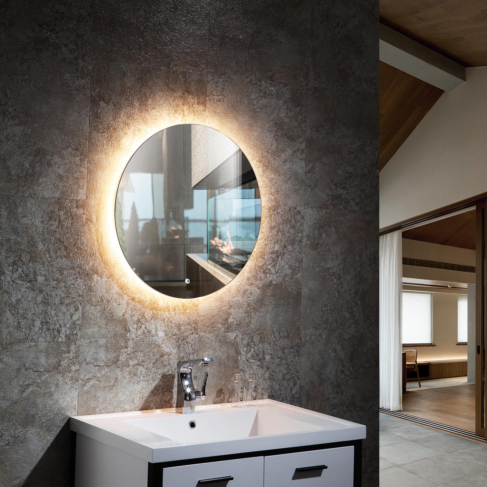 LED Lichtspiegel Badspiegel 20 mit Spiegelheizung &  Warm /Kaltlichteinstellung   Rund Ø 20 cm